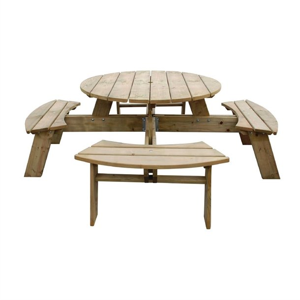 Rowlinson Round Wooden Picnic Table 6 5, Rowlinson Round Picnic Table